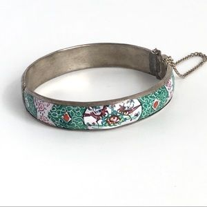 Vintage Turkish Bangle Bracelet Hand Painted
